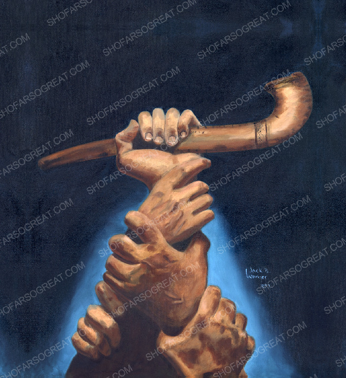 """Painting of """"The Great Shofar"""" by Jack Weinger 1972"""